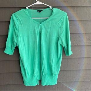 Ann Taylor Short Sleeve Cardigan Sweater S Green